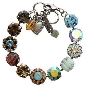 "Mariana Silver Plated Large Daisy Shapes Swarovski Crystal Bracelet, 7.5"" Forget Me Not 4174 1329"