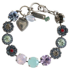 "Mariana ""Gaea"" Silver Plated Large Flower Shapes Swarovski Crystal Bracelet, 7"" 4084 1090"