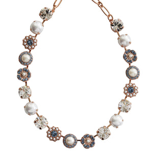 Mariana Rose Gold Plated Large Flower Shapes Swarovski Crystal Necklace, Denim Blue Clear Pearl 3084 139-1rg