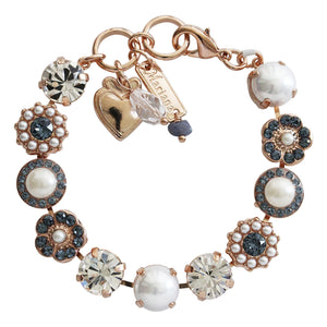 "Mariana Rose Gold Plated Large Flower Shapes Swarovski Crystal Bracelet, 7"" Denim Blue Clear Pearl 4084 139-1rg"
