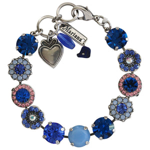 "Mariana Silver Plated Large Flower Shapes Swarovski Crystal Bracelet, 7"" Kiss from a Rose 4084 1068"