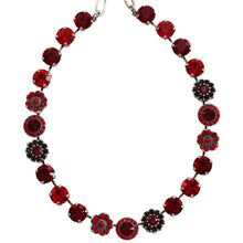 "Mariana Silver Plated Large Flower Shapes Swarovski Crystal 18"" Necklace, Lady in Red 3045/1 1070"