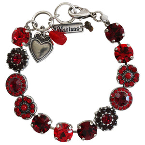 "Mariana ""Lady in Red"" Silver Plated Large Flower Shapes Swarovski Crystal Bracelet, 7"" 4045/1 1070"