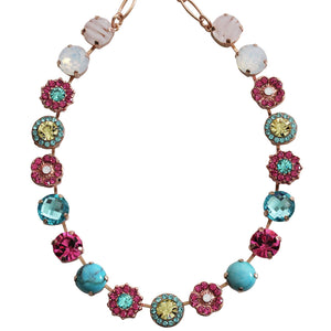 "Mariana Rose Gold Plated Large Flower Shapes Swarovski Crystal Necklace, 18"" Margarita 3084 M1064rg"