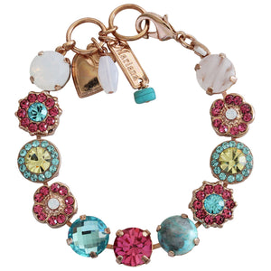 "Mariana Rose Gold Plated Large Flower Shapes Swarovski Crystal Bracelet, 7.5"" Margarita 4084 M1064rg"
