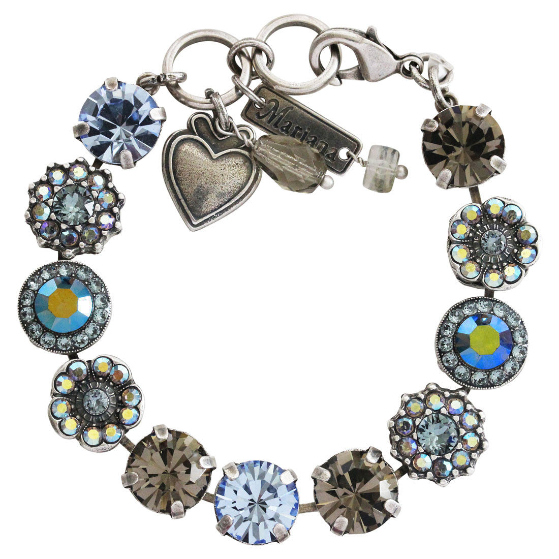 "Mariana Silver Plated Large Flower Shapes Swarovski Crystal Bracelet, 7"" Martini 4084 215-3"