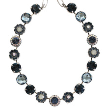"Mariana Silver Plated Large Flower Shapes Swarovski Crystal 18"" Necklace, Mood Indigo 3084 1069"