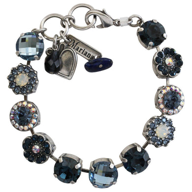 Mariana Mood Indigo Silver Plated Large Flower Shapes Swarovski Crystal Bracelet, 4084 1069