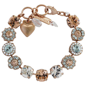 "Mariana Rose Gold Plated Large Flower Shapes Swarovski Crystal Bracelet, 7"" Moon Dance 4084 MOL361mr"