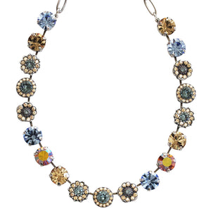 "Mariana Silver Plated Large Flower Shapes Swarovski Crystal Necklace, 18"" Moon Drops 3084 2160-3"
