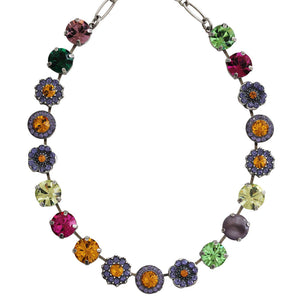 "Mariana ""Crown Jewels"" Silver Plated Large Flower Shapes Swarovski Crystal Necklace, 3084 333"