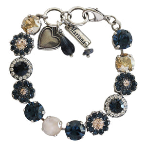 Mariana Silver Plated Large Flower Shapes Swarovski Crystal Bracelet, Ocean Blue Mix 4045/1 2142