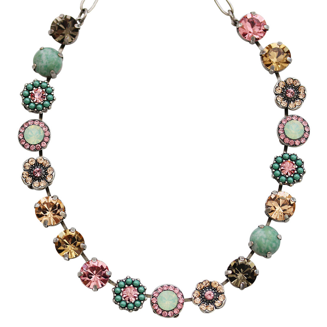 Mariana Silver Plated Large Flower Shapes Swarovski Crystal Necklace, 18