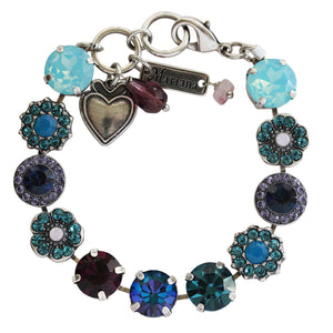 "Mariana ""Peacock"" Silver Plated Large Floral Mosaic Swarovski Crystal Bracelet, 4084 2139"