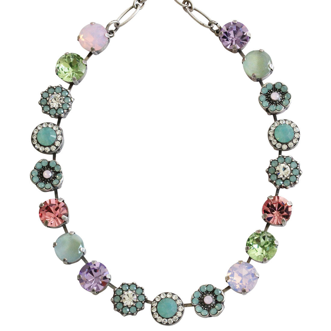 "Mariana Silver Plated Large Flower Shapes Swarovski Crystal Necklace, 18"" Pina Colada 3084 1063"