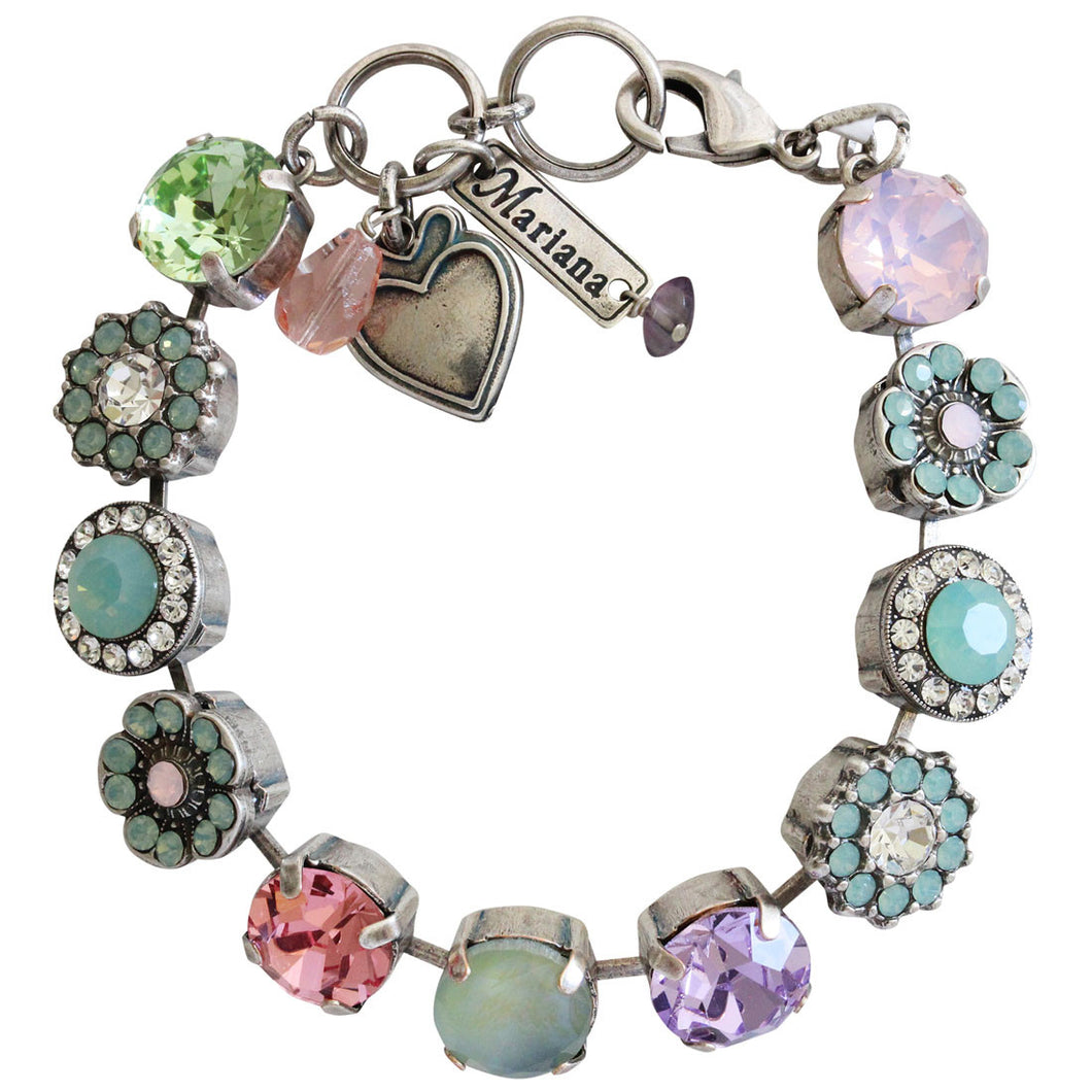 Mariana Silver Plated Large Flower Shapes Swarovski Crystal Bracelet, 7.5