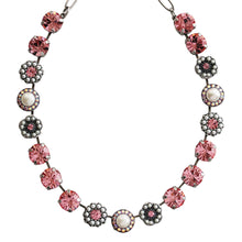 "Mariana ""Pretty in Pink"" Pearls Silver Plated Large Flower Shapes Mosaic Swarovski Crystal Necklace, 3084 M48223"