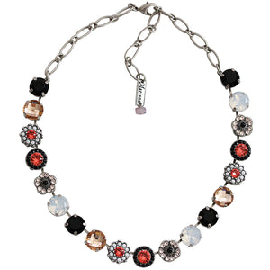 "Mariana Silver Plated Large Flower Shapes Swarovski Crystal Necklace, 18"" Pomegranate 3084 1045"