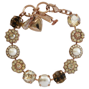 "Mariana Rose Gold Plated Large Flower Shapes Swarovski Crystal Bracelet, 7"" Sandman 4084 13970rg"