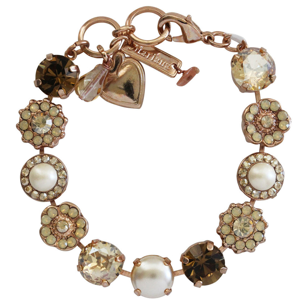 Mariana Rose Gold Plated Large Flower Shapes Swarovski Crystal Bracelet, 7