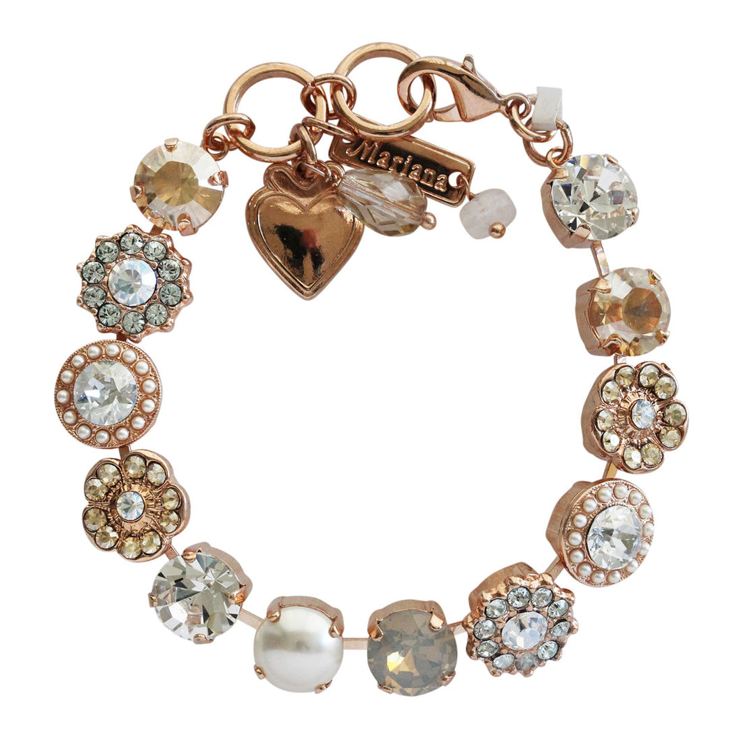 Mariana Rose Gold Plated Large Flower Shapes Swarovski Crystal Bracelet, Seashell Golden Shadow Clear 4045/1 39361rg