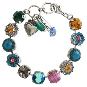 "Mariana ""Selene"" Silver Plated Large Flower Shapes Swarovski Crystal Bracelet, 7"" 4084 1086"