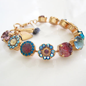 "Mariana Large Flower Shapes Swarovski Crystal 7.5"" Bracelet, Serenity 4084 1312mr"