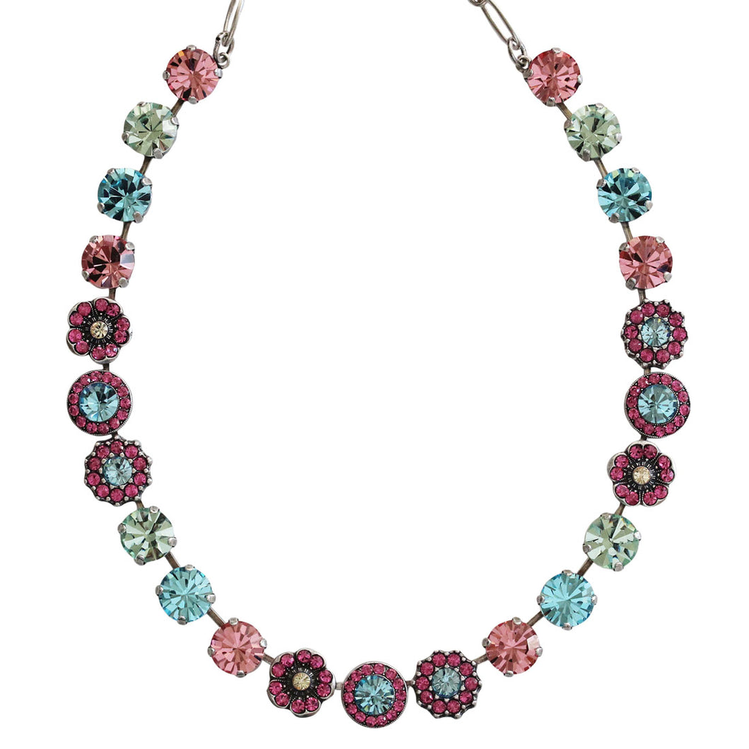 Mariana Silver Plated Large Floral Mosaic Swarovski Crystal Necklace, Spring Flowers Pastel Multi Color 3045/1 2141
