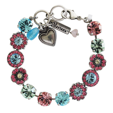 Mariana Silver Plated Large Flower Shapes Swarovski Crystal Bracelet, Spring Flowers Multi Color 4045/1 2141