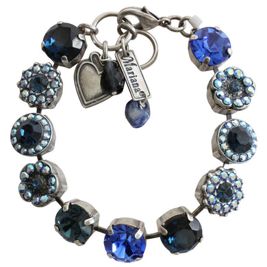 Mariana Tranquility Silver Plated Large Flower Shapes Swarovski Crystal Bracelet, 7