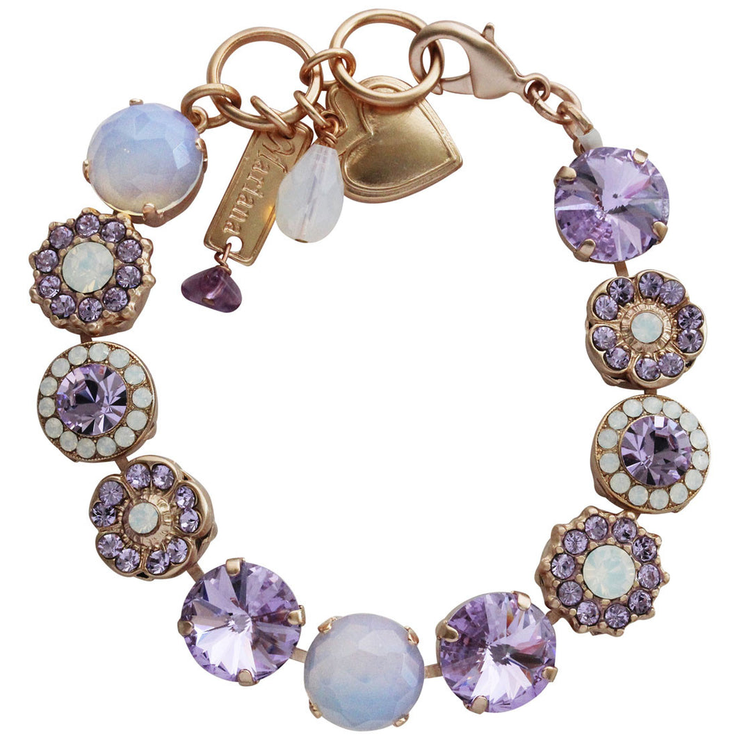 Mariana Rose Gold Plated Large Flower Shapes Swarovski Crystal Bracelet, 7.5