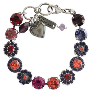 "Mariana ""Xenia"" Silver Plated Large Flower Shapes Swarovski Crystal Bracelet, 7"" 4045/2 1091sp"