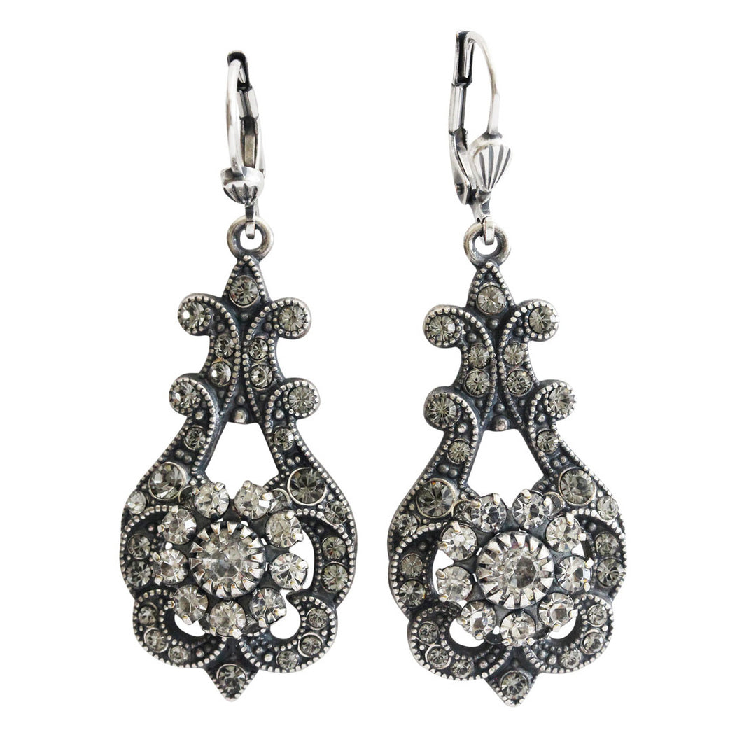 Catherine Popesco Sterling Silver Plated Vintage Inspired Ornate Swirl Floral Swarovski Crystal Round Earrings, LE38 Gray