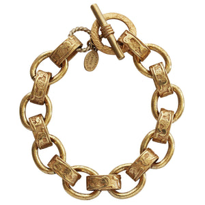"Catherine Popesco 14k Gold Plated Scroll Link Chain Bracelet, 7"" 1714G"