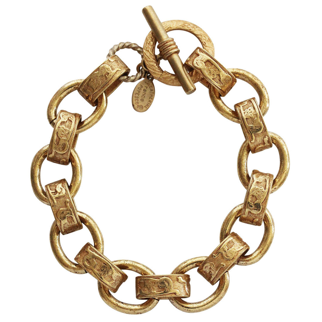 Catherine Popesco 14k Gold Plated Scroll Link Chain Bracelet, 7