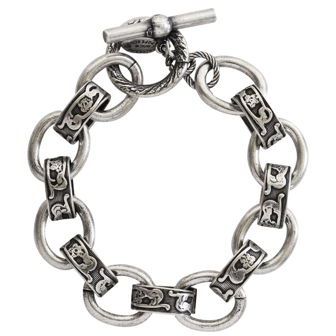 "Catherine Popesco Sterling Silver Plated Scroll Link Chain Bracelet, 6.5"" 1714"