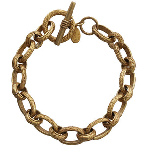 "Catherine Popesco 14k Gold Plated Stamped Link Chain Bracelet, 7.5"" 1717G"