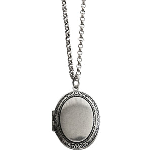 "Catherine Popesco Sterling Silver Plated Locket Oval Classic Border Necklace, 16"" 1502G"