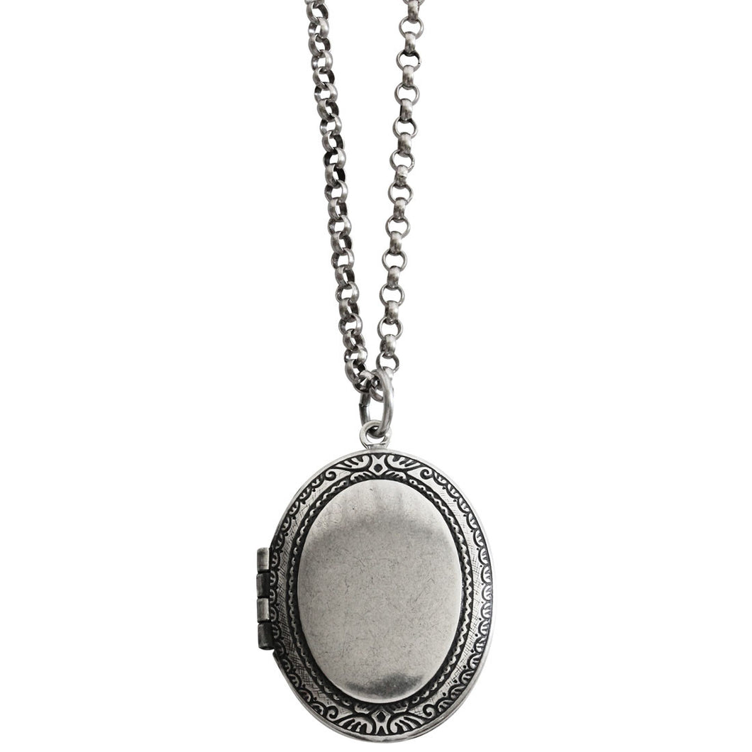 Catherine Popesco Sterling Silver Plated Locket Oval Classic Border Necklace, 16
