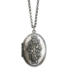 "Catherine Popesco Sterling Silver Plated Locket Oval Flowers Necklace, 16"" 1503U"