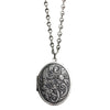 "Catherine Popesco Sterling Silver Plated Locket Oval Flowers Necklace, 20"" 1503R"