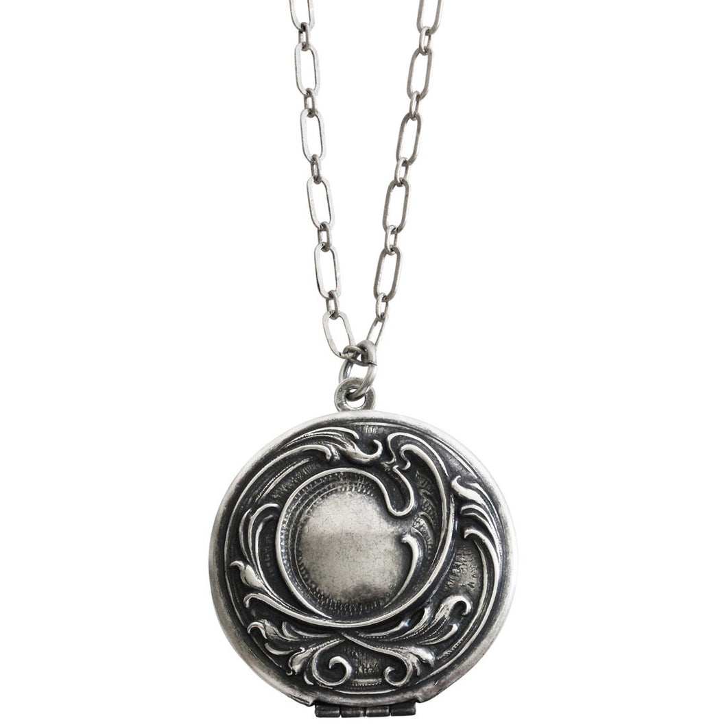 Catherine Popesco Sterling Silver Plated Locket Round Patterned Necklace, 16