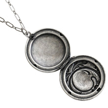 "Catherine Popesco Sterling Silver Plated Locket Round Patterned Necklace, 16"" 1503X"