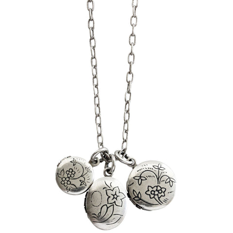 Catherine Popesco Sterling Silver Plated Petite 3 Lockets Necklace, 16