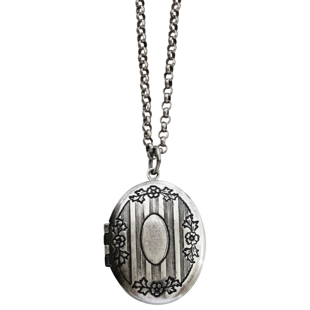 Catherine Popesco Sterling Silver Plated Locket Oval Floral Patterned Necklace, 16