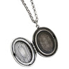 "Catherine Popesco Sterling Silver Plated Locket Oval Floral Patterned Necklace, 16"" 1502U"