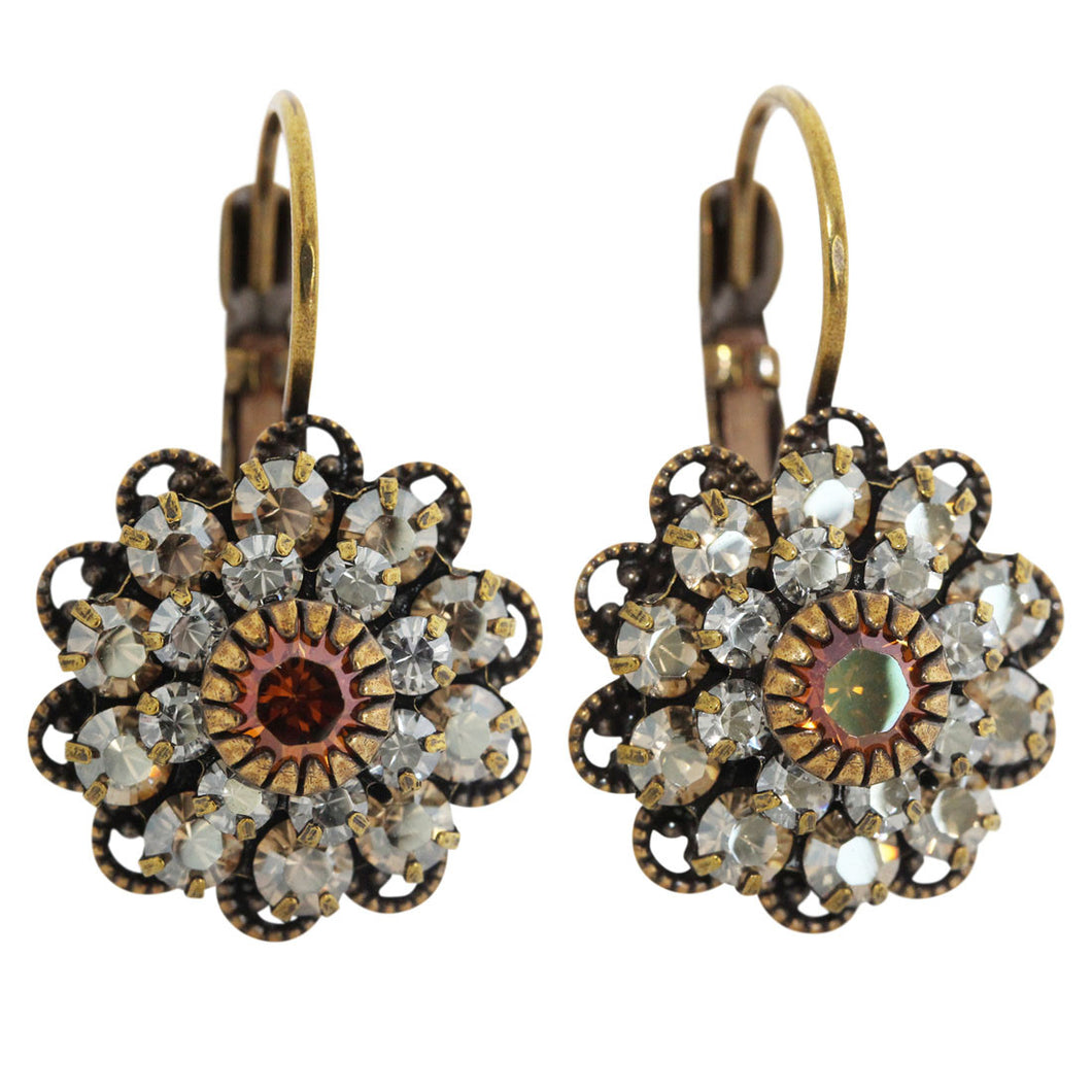 Liz Palacios Antiqued Brass Medium Flower Crystal Earrings, Neutrals Champagne Shade BDE-12