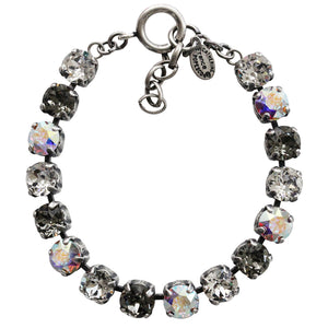 "Catherine Popesco Sterling Silver Plated Cup Chain Crystals Bracelet, 7.5"" 1652B Clear AB Gray"