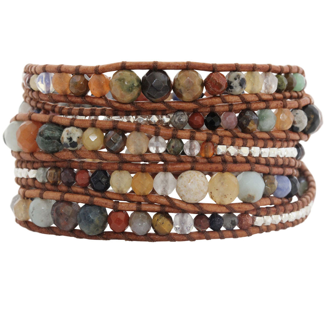Chan Luu Graduated Multi Stone Natural Brown Leather Wrap Bracelet BS-2624