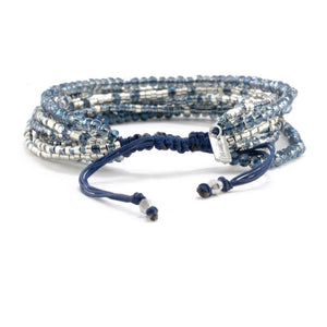 Chan Luu TREND Collection Base Metal Blue Mix Multi Strand Crystal Silver Beaded Pull Cord Bracelet BSZ-4085